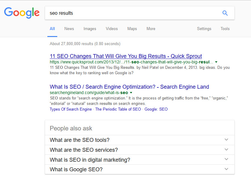 SEO results for one our Greensboro NC clients